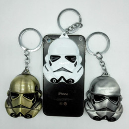 Wholesale Darth Warrior - Star Wars the Force Awakens BB8 BB-8 R2D2 Darth Vader Stormtrooper Zinc Alloy dark warrior Clone Trooper Keychain New year toys