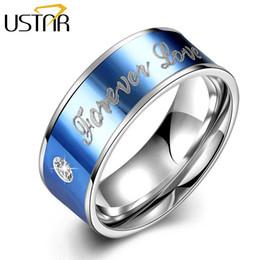 Wholesale Titanium Zircon Rings - Wholesale- USTAR Forever Love Blue Wedding Rings for Women Men Jewelry Silver Zircon rings men Party anel bijoux gift Titanium Steel