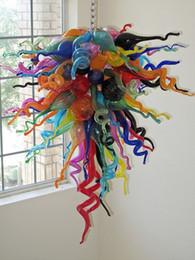 Iluminación de cristal moderna colorida online-Venta caliente Decoración del hogar Colorido Vidrio Arte Luz Especial Craft Style Murano Glass Modern Chandelier Lamp