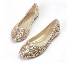 Wholesale Woman Shoes Bridal Flat - Fashion Best sell dress shoes gold flat paillette shoes party evening shoes bridal wedding shoes yzs168