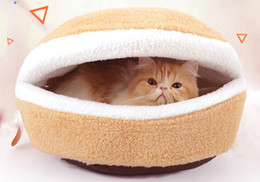 Wholesale High Cat Beds - Pet Cat Supplies Burger style Cat Beds Removable Windproof warm nest Soft and comfortable 2 style high quality Cats dogs home wholesale