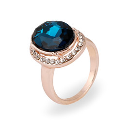 Wholesale Wholesale Jewelry Austrian Stones - New Arrive Austrian Crystal Jewelry Around Charm Rhinestone Rose Gold Plated Rings Red  Blue Rhinestone Rings for Women 24pcs Lot in Stock