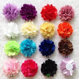"Wholesale Hair Color Yarn - 50pcs lot 2"" pure color Net yarn gauze hair accessories for children girl cloth headdress flower corsage flowers 15 color shoes accessories"
