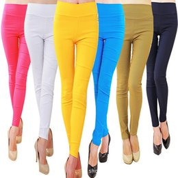 Wholesale Cashmere Leggings Women - 2016 Hot Brand Spring Women's Stretch Pants Candy Color Elastic Pencil Pants Women Trousers Skinny Legging Pants Women Leggings