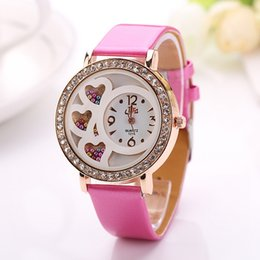 Wholesale Valentine Heart Pin - 2015 New Top Luxury Brand womens watches Fashion Valentine three love heart dial Leather strap Hollow crystal dress watch