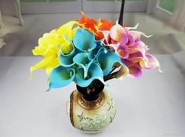 Wholesale Egyptian Calla Lily - Latex Callas 33cm Elegant Silicon Artificial Egyptian Calla Lily Alocasia Plumbea Flower for Wedding Bridal centerpieces Decorations