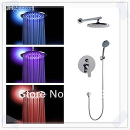 Wholesale Led Shower Head Prices - Wholesale-16 inch 40cm brass lighting big led shower head whole shower set together good cheap price for promotion bathrom tools duchas de