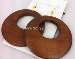 Wholesale Ladies Wooden - Free shipping 5cm Fashion Lady Round Wooden Earrings Coffee Jewelry Gift 5pairs lot