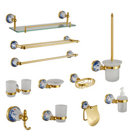 Wholesale Luxury Bathroom Accessories Set - Gold Bathroom Accessories Set Ceramic Base Luxury 304 Stainless Steel and Copper Wall Mounted Soap Dispenser Holder Home Decor