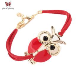 Wholesale Nights Zodiac - Wholesale-Hot Leather Strap Zodiac Bracelet Bangles Enamel Night Owl Charm Bracelet For Women Men Pulseira Masculina Couro Bijoux