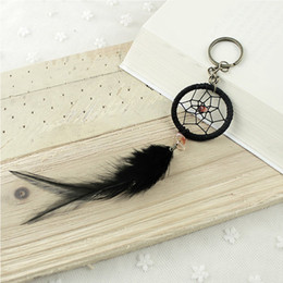 Wholesale Handcraft Beads - Indian Original Style Black Feather Handmade Handcraft Dream Catcher Keychain Keyring Keys Holder Jewelry Free DHL D358L