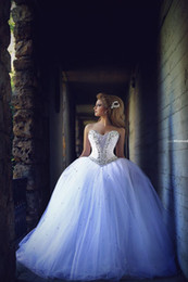 Wholesale Romantic Sweetheart Ball Gown - Romantic white tulles ball gown wedding dresses Rhinestones strapless sexy backless sweep train formal bridal gowns 2016