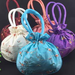 Wholesale Cheap Burgundy Bags - Large Craft Christmas Bags Satin Gift Bag Handle China Womens Purses Totes Cheap Embroidery Drawstring Birthday Packaging Pouch 50pcs lot