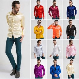 Wholesale Shiny Silk Shirts Men - New mens casual silk shirts Fashion hot 12 colors Long Sleeve faux silk shirts for men black white shiny satin men's shirt plus size S-XXL
