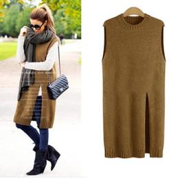 Wholesale Vintage Sweater Vests - Wholesale- Women Fashion New Mini Dress Jacket Sweater Cotton Knit Casual Vintage Pullover Blouse Blusas Vest Chiffon Top Shirt Femininas
