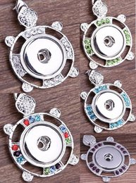 Wholesale Tortoise Crystal Pendant - NOOSA Crystal Tortoise Rhinestones Ginger Snap Button Pendants Necklace with Interchangeable Jewerly 5 colors for choices
