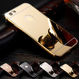 Wholesale Blackberry Aluminum Case - New Ultra Thin Aluminum Bumper + Hard PC Shiny Mirror Case for iphone7 iphone8 iphone x plus Samsung s7 s8 noete8