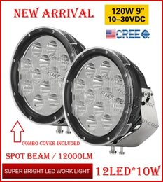 """Wholesale Led Work Light W - 2PCS 9"""" 120W 12LED*10W CREE LED Driving Work Light Round Offroad SUV ATV 4WD 4x4 Transport Spot Beam 10-60V 12000lm W Combo Protection Cover"""