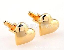 Wholesale Heart Shape Cufflinks - Dongguan spot mixed batch custom cufflinks K gold heart-shaped Valentine's gift cufflinks French cuff links CZ