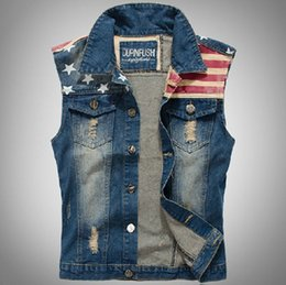 Wholesale Mens Waistcoats Casual - Classic Vintage Mens Jeans Vest Tops Sleeveless Casual Fashion Flag Blue Jeans Jacket Slim Waistcoat men clothing US Size XXS-L