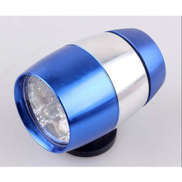 Wholesale Round Led Headlights - New product 6 Leds Super brightess round led tail light led headlight Black Blue 360 degree bicycle led torch light