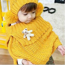 Wholesale Hat Scarf Bear Pink - Girls Scarves Sets 2015 Winter New Fashion Style Children 2pcs Set Hat+Woolen Shawl Bear Toys Kids Clothes Fit 1-6Age 10set lot T1374
