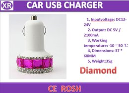 Wholesale Ipad2 For Cheap - 100pc Colorful diamond Dual USB Car charger Output DC5V 2100MA Accpet OEM ODM Colorful usb charger for For iPhone 5 iPad2 fast ship+cheap