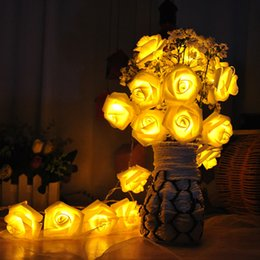 Wholesale Led Garden Flower Lights - 2016 christmas gifts Fashion Holiday Lighting 20 x LED Novelty Rose Flower Fairy String Lights Wedding Garden Party Christmas Decoration