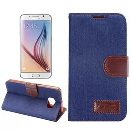 Wholesale Note Jeans - New Denim Jeans Stand Leather Case for Samsung Galaxy S4 S5 I9500 S6 G9200 S4 MINI Note 2 3 4 Flip Cowboy Wallet Holster Credit ID Card Slot