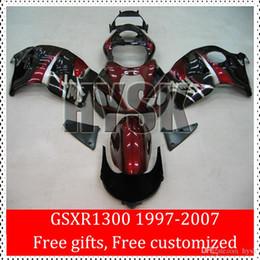 Wholesale Hayabusa Painted Fairing Kits - 1997 1998 1999 2000 2001 2002 2003 2004 2005 2006 2007 Hayabusa GSXR1300 GSX-R1300 Of Suzuki GSXR 1300 Fairing Kits Red Black Painting