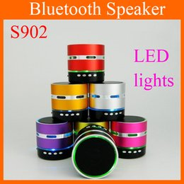 Wholesale Wireless Microphone Speaker For Pc - S902 Mini Bluetooth Speaker Wireless Built-in Microphone LED Super Bass Outdoor Portable Audio Player For Samsung HTC Phones PC MIS085