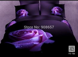 Wholesale Comforter Wedding Twill - 2014 new 3D bedding wedding sexy purple rose flower comforter quilt duvet covers set full queen size 4-5 pcs 100% cotton fabric