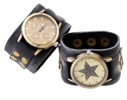 мужские часы панк Скидка Мужская мода кожаный браслет часы 40 мм панк атмосферный ретро кожаный браслет