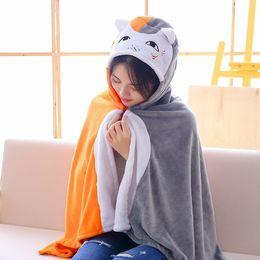 Wholesale White Cat Halloween Costume - Anime Natsume Yuujinchou Cat teacher Totoro Cloak Hoodies Flannel Coat sensei Cat Doma Cape Cosplay Costume 2018