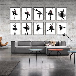 Wholesale Dancers Wall Decor - Modern Black White Ballet Dancer Silhouette Beauty Girl Photo Art Print Poster Wall Picture Canvas Painting Ballerina Home Decor