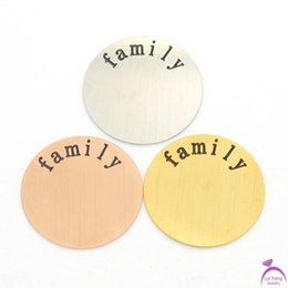 Wholesale Rose Gold Floating Locket Wholesale - Wholesale-Free shipping Silver Gold Rose Gold 3 Color 22mm Stainless Steel FAMILY floating plates for Large 30mm floating Lockets