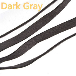 candy bracelet accessories Promo Codes - DIY Wholesales Braid Ropes Flat 10mm Wide Imitate Leather Cords For Key Chains Bracelets Double Velvets Candy Gray Jewelry Accessories 10m