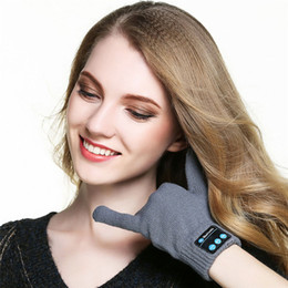 Wholesale Yellow Speaker - New Rechargeable Wireless Bluetooth Music Headset Speaker Smart Touch screen Warm Knit Gloves