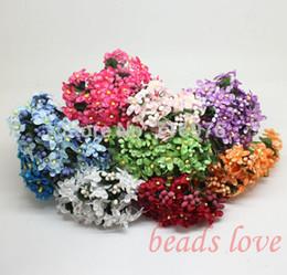 2019 fiori di gambo di filo Mulberry wedding Flower Bouquet stelo filo / Scrapbooking Fiore simulazione fiori matrimonio (144pcs / lot) Scegli colore (w02618-w02627) fiori di gambo di filo economici