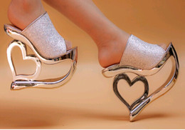 Wholesale High Heels Evening Shoes - Love sequins shoes Wedge slippers Women's wedges sandals party Evening shoes 15cm High Heels Sandals Waterproof shoes nightclub shoes #418
