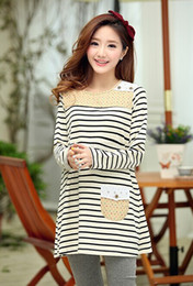 Wholesale Stripe Maternity - fashion new 2014 lady dress blouse new pregnant Maternity wear colored stripes tops maternity tops