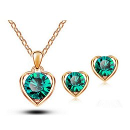 Wholesale Gold Plated Alloy Austria Crystal - Newest Fashion 18K Austria Crystal Necklace And Earrings Sets High-Grade Heart Jewelry Sets For Women Best Jewelry 1331