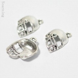 Wholesale Vintage Nacklace - Yearning Jewelry Findings Vintage Silver Alloy American Football Helmet Pendant Charms Fit Nacklace Bracelet 20*15MM 100pcs lot