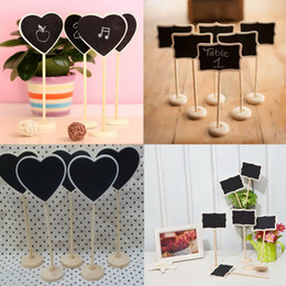 Wholesale Mini Blackboards - 5Pcs lot Mini Wooden Wood Chalkboard Blackboard On Stick Stand Place Card Holder Table Number for Wedding Event Decoration -MZHB