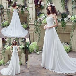 Wholesale Grace Sheath - Real picture Beach Chiffon Wedding Dresses With Draped A Line Ruffles Applique Beaded Vestidos de Novia Grace white  ivory Bridal Gowns