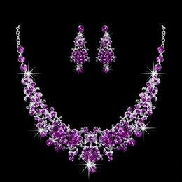 Wholesale Purple Bridal Jewelry Sets Pearl - 2018 Royal Blue Free Shipping Bridal Jewelries Sets Of Earrings Necklaces Rhinestones Crystal Beaded Newest Pageant Girls Prom Accessories