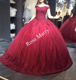 Princess Masquerade Sweet 16 Ball Gown Quinceanera Prom Dresses 2020 Off Shoulder Sequined Beaded Red Puffy Tulle Arabic Vestidos De 15 Anos