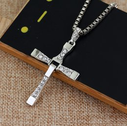 Wholesale Men S Jewelry Crosses - Wholesale Jewelry New Fashion Gift Silver Men Women 's Alloy Cross Pendant Necklace 60cm Dropshipping
