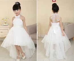 Wholesale Blue Girl Beading - Pretty Halter Flower Girls Dresses 2015 Beading Ball Gown Hi lo Length Good Quality Organza Pageant Dresses Spring Kids wedding Dresses R0