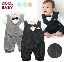 Wholesale Rompers Gentleman Modelling Baby - Cute Casual Stripe Gentleman Waistcoat Boys Modelling Romper 0-24M Baby Dress Rompers Toddler Jumpsuits 1pcs Retail QZ06